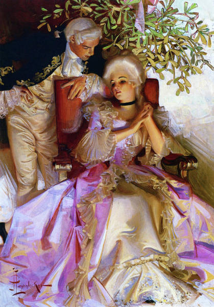 Wall Art - Painting - Colonial Style Couple Under Mistletoe - Digital Remastered Edition by Joseph Christian Leyendecker