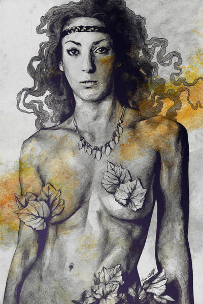 Erotic Drawing - Colony Collapse Disorder - Gold - Nude Warrior Woman With Autumn Leaves by Marco Paludet