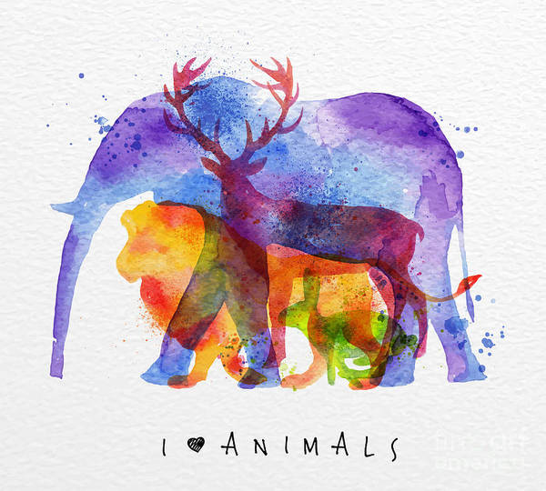 Wall Art - Digital Art - Color Animals ,elephant, Deer, Lion by Anna42f