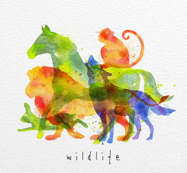 Wall Art - Digital Art - Color Animals ,horse, Wolf, Monkey by Anna42f