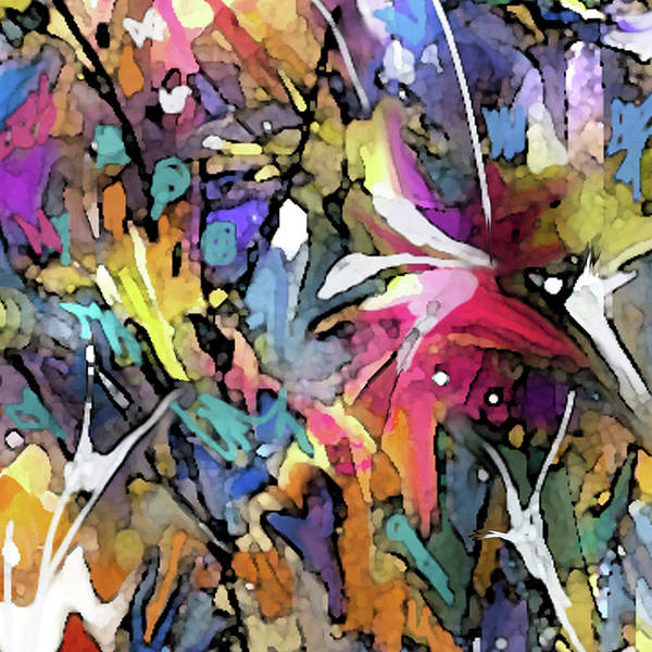 Digital Art - Color Splashes-detail by Jean Batzell Fitzgerald