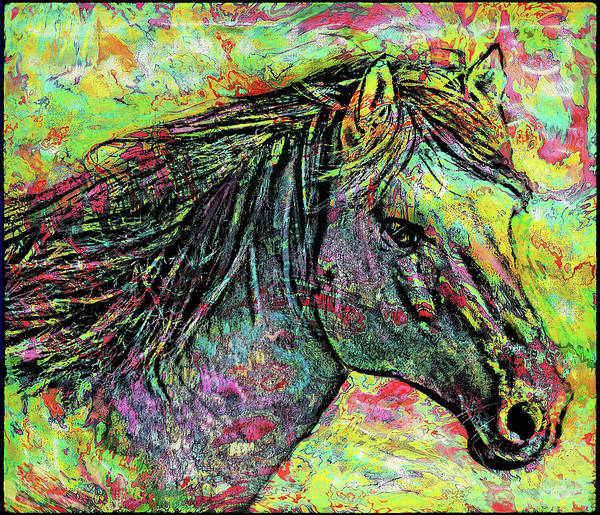Wall Art - Ceramic Art - Color Spotted Horse by Grace Iradian