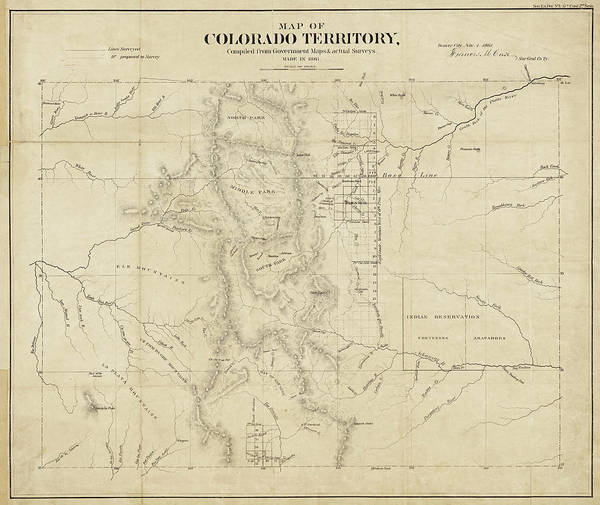 Digital Art - Colorado 1861 Territory Map Historical Map by Toby McGuire