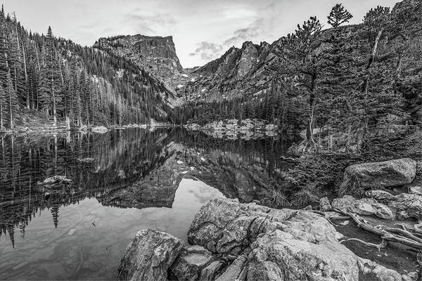 Photograph - Colorado Dream Lake Black And White Mountain Landscape by Gregory Ballos