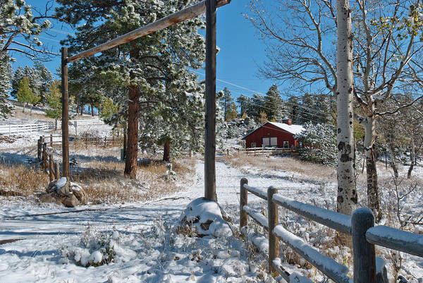 Photograph - Colorado Foothills Winter Barn Landscape by Cascade Colors