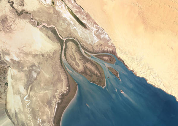 Merge Wall Art - Photograph - Colorado River Delta, Mexico, True by Planet Observer
