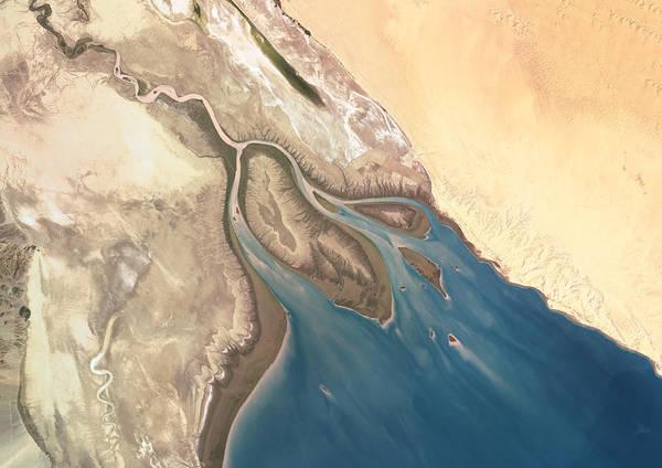 Usa Map Photograph - Colorado River Delta, Mexico, True by Planet Observer