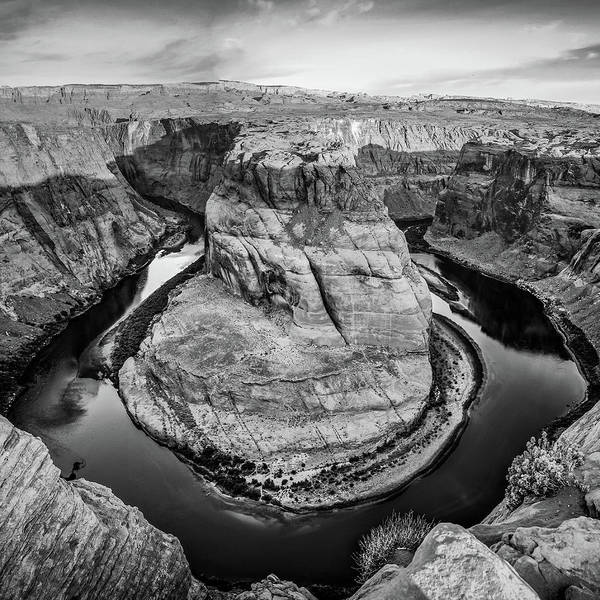 Photograph - Colorado River Winding Around Horseshoe Bend - Moncohrome by Gregory Ballos