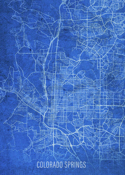 Wall Art - Mixed Media - Colorado Springs Colorado City Street Map Blueprints by Design Turnpike