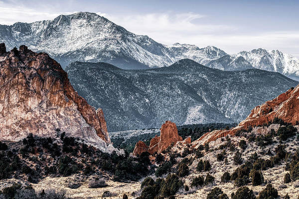 Photograph - Colorado Springs Red Rock Landscape And Pikes Peak by Gregory Ballos