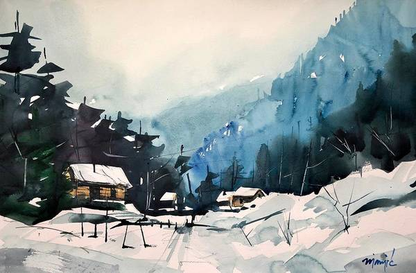 Wall Art - Painting - Colorado Winter 15 by Ugljesa Janjic