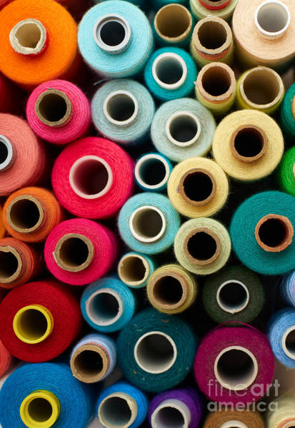 Colored Bobbins Background. Red Art Print