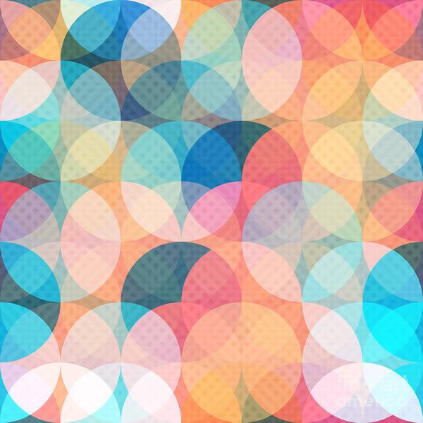 Bubble Digital Art - Colored Circle Seamless Pattern by Gudinny