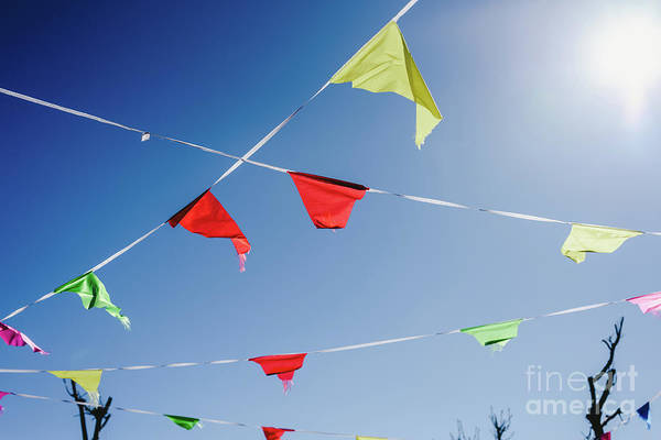 Photograph - Colored Flags Against The Sun Waving In The Wind At An Outdoor Party. by Joaquin Corbalan