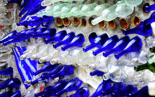 Photograph - Colored Glass Bottle Wall 1 by Cynthia Guinn