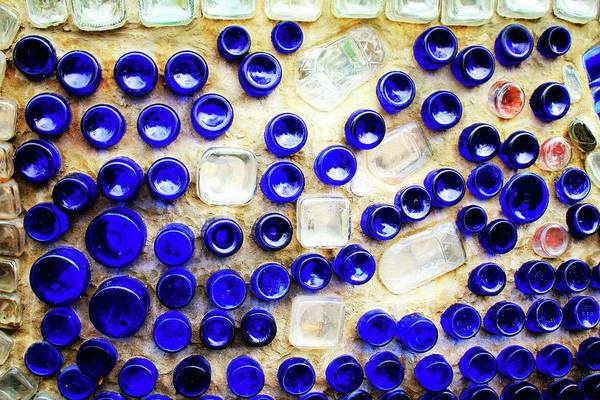 Photograph - Colored Glass Bottle Wall 2 by Cynthia Guinn