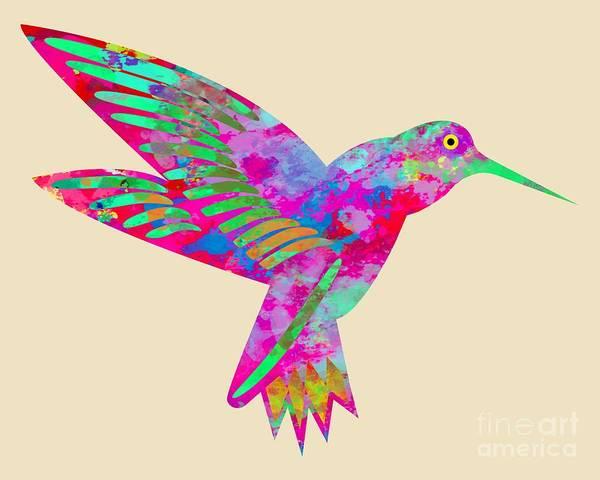 Digital Art - Colored Hummingbird  by David Millenheft