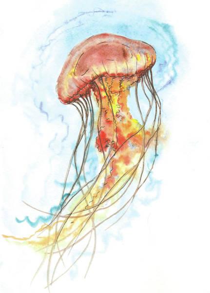 Jellyfish Painting - Colored Jellyfish by Elena Gabbasova