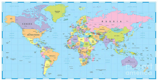 Wall Art - Digital Art - Colored World Map - Borders, Countries by Dikobraziy