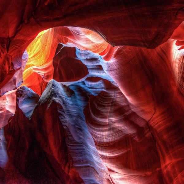 Photograph - Colorful Abstract Layers Of Antelope Canyon Arizona 1x1 by Gregory Ballos
