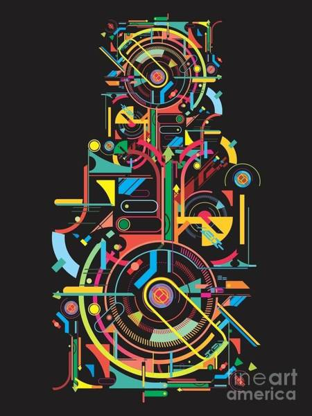 Wall Art - Digital Art - Colorful Abstract Tech Shapes On Black by Gudron