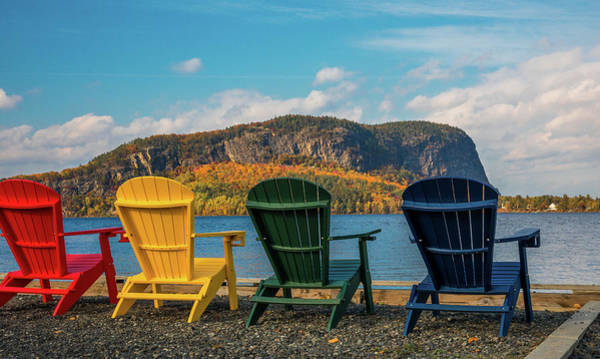 Photograph - Colorful Adirondack Chairs On Moosehead Lake by Dan Sproul