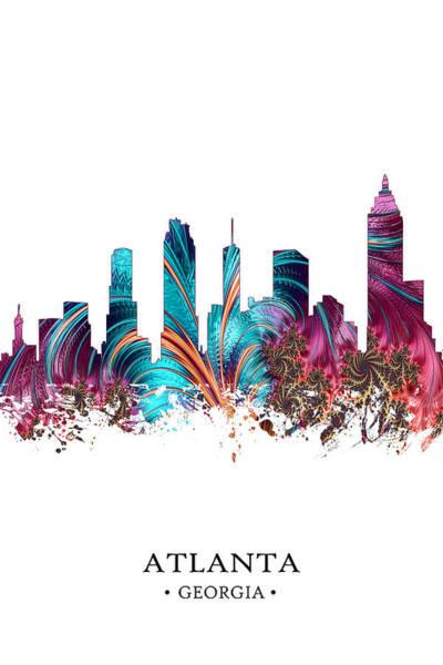 City Scape Digital Art - Colorful Atlanta by Tim Palmer