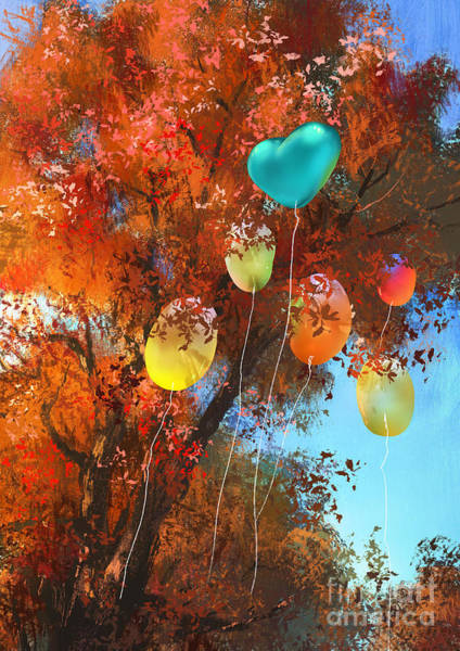 Red Heart Digital Art - Colorful Balloons On Autumn Forest by Tithi Luadthong