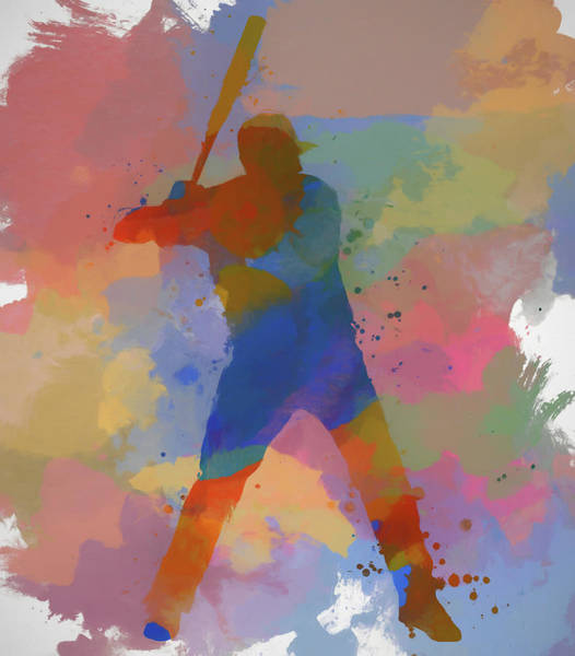 Wall Art - Painting - Colorful Baseball Player by Dan Sproul