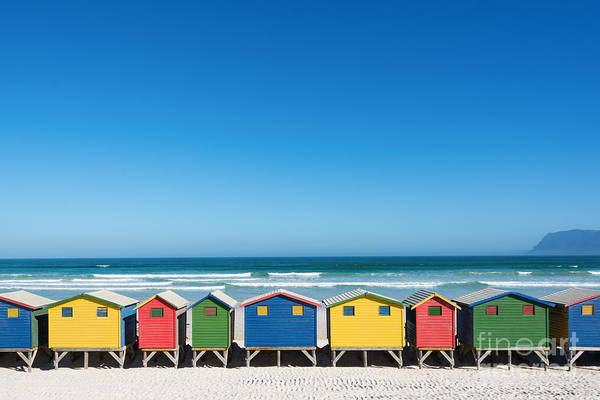 South Atlantic Wall Art - Photograph - Colorful Bathhouses At Muizenberg, Cape by E. P. Adler