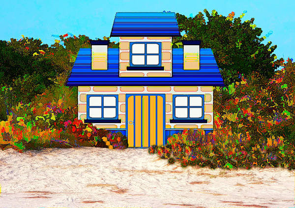 Mixed Media - Colorful Beach Cottage by Rosalie Scanlon