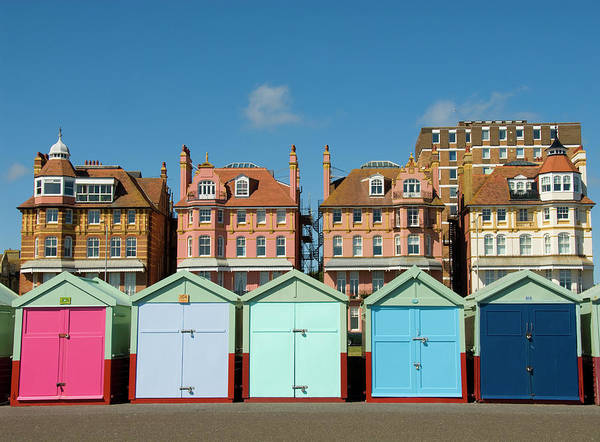 Beach Hut Photograph - Colorful Beach Huts, Brighton, Uk by Simon Russell