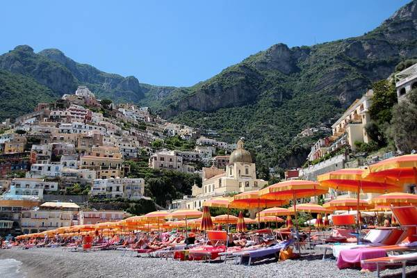 Wall Art - Photograph - Colorful Beach Umbrellas Positano by Marlin and Laura Hum