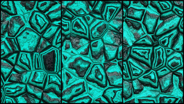 Digital Art - Colorful Blue Green Wall Abstract Triptych by Don Northup