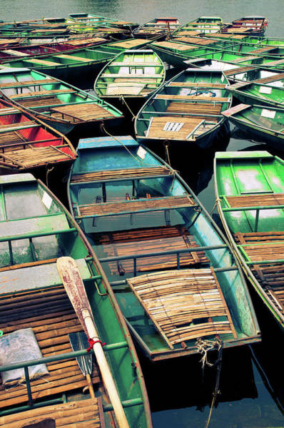 Oar Photograph - Colorful Boats Collected by Flash Parker