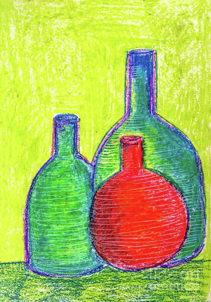 Wall Art - Painting - Colorful Bottles by Asha Sudhaker Shenoy