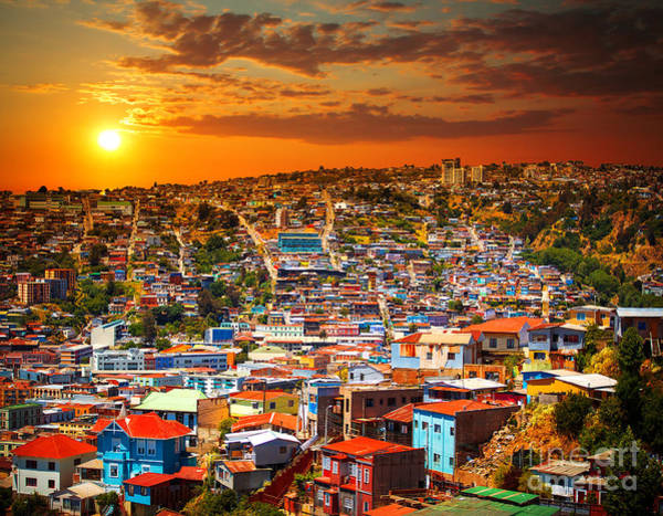 Chile Wall Art - Photograph - Colorful Buildings On The Hills Of The by Skreidzeleu