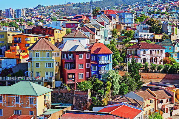 World Heritage Site Photograph - Colorful Buildings, Vailparaso, Chile by John W Banagan