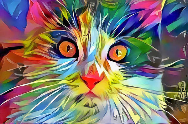 Digital Art - Colorful Calico Cat by Don Northup