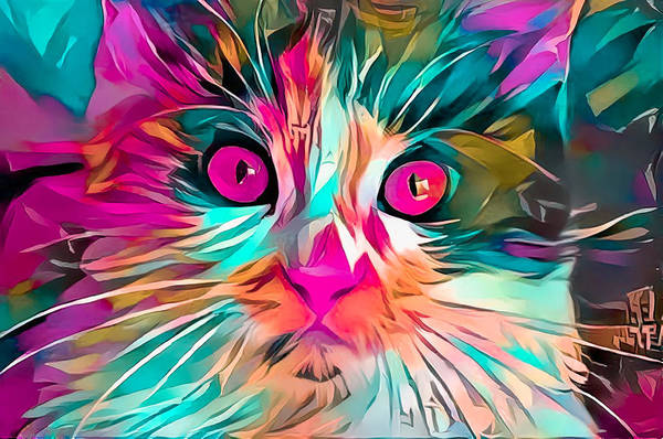 Digital Art - Colorful Calico Cat Pink Eyes by Don Northup
