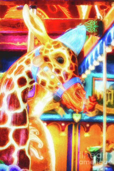 Colorful Giraffe Photograph - Colorful Carousel Fantasies by Mel Steinhauer