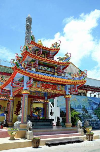 Photograph - Colorful Chinese Pagoda With Altar And Dragon Fountain At Temple Pattani Thailand by Imran Ahmed
