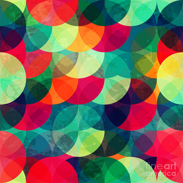Stylish Wall Art - Digital Art - Colorful Circle Seamless Pattern With by Gudinny