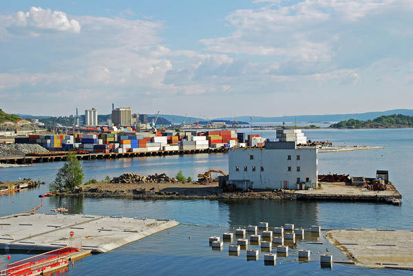 The Crane Photograph - Colorful Containers In Oslo, Norway by Dyker the horse 1976