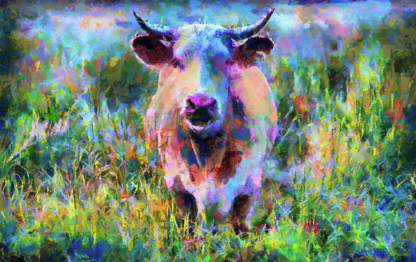 Painting - Colorful Cow Modern Impressionism by Matthias Hauser
