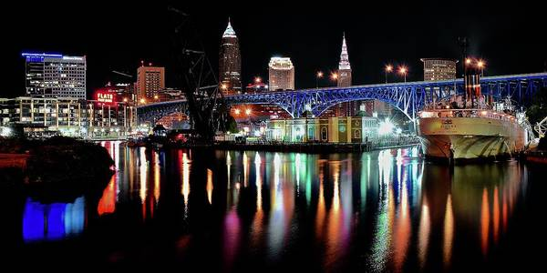 Wall Art - Photograph - Colorful Cuyahoga On A Black Night In Cle by Frozen in Time Fine Art Photography