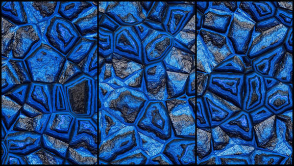 Digital Art - Colorful Dark Blue Wall Abstract Triptych by Don Northup