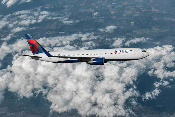 Delta Air Lines Wall Art - Mixed Media - Colorful Delta Air Lines Above The Clouds by Erik Simonsen