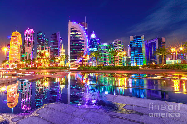 Photograph - Colorful Doha West Bay by Benny Marty