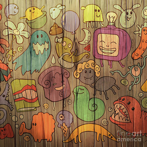 Wall Art - Digital Art - Colorful Doodle Illustrations Set With by Alexandra Petruk